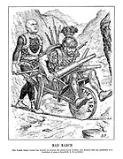 Mad March. [The Fascist General Council has decided to increase the armed forces of Italy, and declared that any possiblity of a limitation of arms is henceforth to be excluded.] (Mussolini pushes Mars the God of War across a tightrope in a spending wheelbarrow weighed down with weapons)