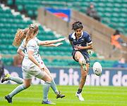 Twickenham, Surrey, 12th December 2019, Centre, Abigail D'CRUZ, taps the ball through the gap, during,  The Women's Varsity Match, Oxford University vs Cambridge University, RFU Stadium, England.  <br /> <br /> [Mandatory Credit; Peter SPURRIER/Intersport Images]