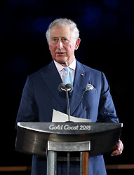 The Prince of Wales during the Opening Ceremony for the 2018 Commonwealth Games at the Carrara Stadium in the Gold Coast, Australia.