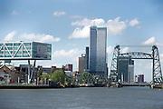 Uitzicht op kantoren en de  brug De Hef, Rotterdam, Zuid-Holland - View on offices and the bridge De Hef, Rotterdam, Netherlands