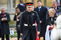 Prince Harry pictured at London's Westminster Abbey where he and the Duke of Edinburgh visited the Field of Remembrance, observed a two minutes' silence and met veterans from past and more recent conflicts. Picture date: Thursday November 10, 2016. Photo credit should read: Matt Crossick/ EMPICS Entertainment.