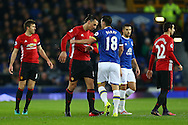Zlatan Ibrahimovic of Manchester United and Gareth Barry of Everton have a disagreement. Premier league match, Everton v Manchester United at Goodison Park in Liverpool, Merseyside on Sunday 4th December 2016.<br /> pic by Chris Stading, Andrew Orchard sports photography.