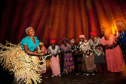 A welcome dance by villagers of the Polers Trust, a community initiative in Seronga, Botswana