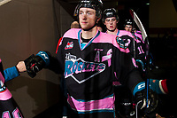 KELOWNA, CANADA - OCTOBER 21: Gordie Ballhorn #4 of the Kelowna Rockets walks to the ice at the start of third period against the Portland Winterhawks on October 21, 2017 at Prospera Place in Kelowna, British Columbia, Canada.  (Photo by Marissa Baecker/Shoot the Breeze)  *** Local Caption ***