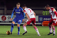 AFC Wimbledon striker Joe Pigott (39) dribbling during the EFL Trophy group stage match between AFC Wimbledon and Stevenage at the Cherry Red Records Stadium, Kingston, England on 6 November 2018.