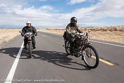 California riding buddies Victor Boocock (L) on his 1914 Harley-Davidson beside Mark Loewen on his 1912 Excelsior during the Motorcycle Cannonball Race of the Century. Stage-12 ride from Page, AZ to Williams, AZ. USA. Thursday September 22, 2016. Photography ©2016 Michael Lichter.