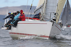 The Clyde Cruising Club's Scottish Series held on Loch Fyne by Tarbert. .Day 3 racing initially postponed awaiting  a light southerly...CYCA Class 5 Leader, GBR4754 , Sunrise , S.& N. Chalmers  , CCC , Sigma 400