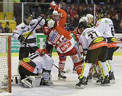 02.10.2014, Stadthalle, Klagenfurt, AUT, EBEL, EC KAC vs Dornbirner Eishockey Club, 7. Runde, im Bild David Madlaner (Dornbirner Eishockey Club, #31), Adam Miller (Dornbirner Eishockey Club, #40), Patrick Harand (EC KAC, #16), Garnet Exelby (Dornbirner Eishockey Club, #27), Jonathan D'Aversa (Dornbirner Eishockey Club, #) // during the Erste Bank Icehockey League 7th round match betweeen EC KAC and Dornbirner Eishockey Club at the City Hall in Klagenfurt, Austria on 2014/10/02. EXPA Pictures © 2014, PhotoCredit: EXPA/ Gert Steinthaler