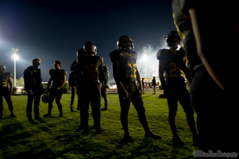 Members Del Oro Golden Eagle's warm up before the game as the Del Oro Golden Eagles varsity football team host the Oak Ridge Trojans, Friday Oct 21, 2016.<br /> photo by Brian Baer