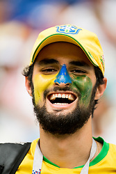July 2, 2018 - Samara, Russia - 180702 A supporter of Brazil ahead of the FIFA World Cup round of 16 match between Brazil and Mexico on July 2, 2018 in Samara..Photo: Petter Arvidson / BILDBYRÃ…N / kod PA / 92081 (Credit Image: © Petter Arvidson/Bildbyran via ZUMA Press)