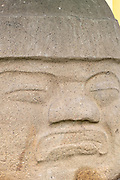 Detail of the Cobata Olmec colossal head on display at Parque Olmeca in Santiago Tuxtla, Veracruz, Mexico. The giant stone heads were carved by the Olmec Mesoamerica civilization between 1550-900 B.C and  weigh between 6 and 50 tons.