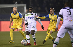 February 17, 2018 - Leuven, BELGIUM - OHL's Simon Diedhiou and Beerschot's Tom Pietermaat fight for the ball during a soccer game between OH Leuven and KFCO Beerschot Wilrijk, in Heverlee, Leuven, Saturday 17 February 2018, on day 27 of the division 1B Proximus League competition of the Belgian soccer championship. BELGA PHOTO BRUNO FAHY (Credit Image: © Bruno Fahy/Belga via ZUMA Press)