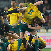 Wallaby captain Rocky Elsom grapples with All Black Andrew Hore at the break down during the New Zealand V Australia Tri-Nations, Bledisloe Cup match at Eden Park, Auckland. New Zealand. 6th August 2011. Photo Tim Clayton
