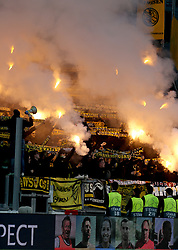 Young Boys fans set off flares in the stands
