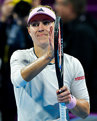 DOHA, Feb. 14, 2019  Angelique Kerber of Germany reacts after winning the women's singles second round match between Angelique Kerber of Germany and Anett Kontaveit of Estonia at the 2019 WTA Qatar Open in Doha, Qatar, Feb. 13, 2019. Angelique Kerber won 2-0. (Credit Image: © Nikku/Xinhua via ZUMA Wire)