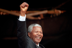 ANC President, Nelson Mandela, acknowledges the crowd at a rally in Glasgow. He had earlier received the Freedom of the City.