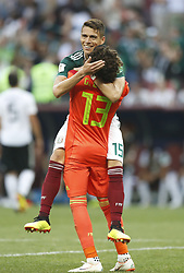MOSCOW, June 17, 2018  Hector Moreno (top) of Mexico celebrates victory with teammate Guillermo Ochoa after a group F match between Germany and Mexico at the 2018 FIFA World Cup in Moscow, Russia, June 17, 2018. Mexico won 1-0. (Credit Image: © Cao Can/Xinhua via ZUMA Wire)