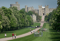 © Licensed to London News Pictures. 08/05/2018. Windsor, UK. Media stands (R) are being erected on The Long Walk at Windsor Castle ahead of the Royal Wedding of Prince Harry and Meghan Markle. With 12 days to go there is lots of activity in and around the grounds of Windsor Castle. Photo credit: Peter Macdiarmid/LNP