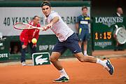 Paris, France. Roland Garros. May 26th 2013.<br /> Swiss player Roger FEDERER against Pablo CARRENO-BUSTA