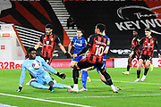 Arnaut Danjuma (10) of AFC Bournemouth shoots at goal but it is saves by Brice Samba (30) of Nottingham Forset during the EFL Sky Bet Championship match between Bournemouth and Nottingham Forest at the Vitality Stadium, Bournemouth, England on 24 November 2020.