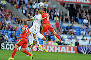 Gareth Bale of Wales head the ball for Simon Church to 'score' in added time but it is disallowed. Euro 2016 qualifying match, Wales v Israel at the Cardiff city stadium in Cardiff, South Wales on Sunday 6th Sept 2015.  pic by Andrew Orchard, Andrew Orchard sports photography.