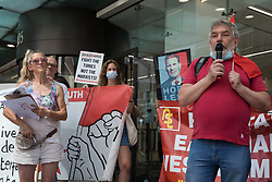 London, UK. 20th July, 2021. Pete Firmin, secretary of the Labour Representation Committee, addresses supporters of left-wing Labour Party groups at a protest lobby outside the party's headquarters. The lobby was organised to coincide with a Labour Party National Executive Committee meeting during which it was asked to proscribe four organisations, Resist, Labour Against the Witchhunt, Labour In Exile and Socialist Appeal, members of which could then be automatically expelled from the Labour Party.