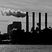 Factory in New York skyline.
