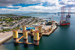 Aerial view from drone of Port of Cromarty Firth at Invergordon, Cromarty firth, Scotland, UK