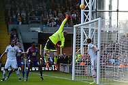 David De Gea , the  Manchester United goalkeeper makes an acrobatic save from a Scott Dann of Crystal Palace header. Barclays Premier League match, Crystal Palace v Manchester Utd at Selhurst Park in London on Saturday 31st October 2015.<br /> pic by John Patrick Fletcher, Andrew Orchard sports photography.