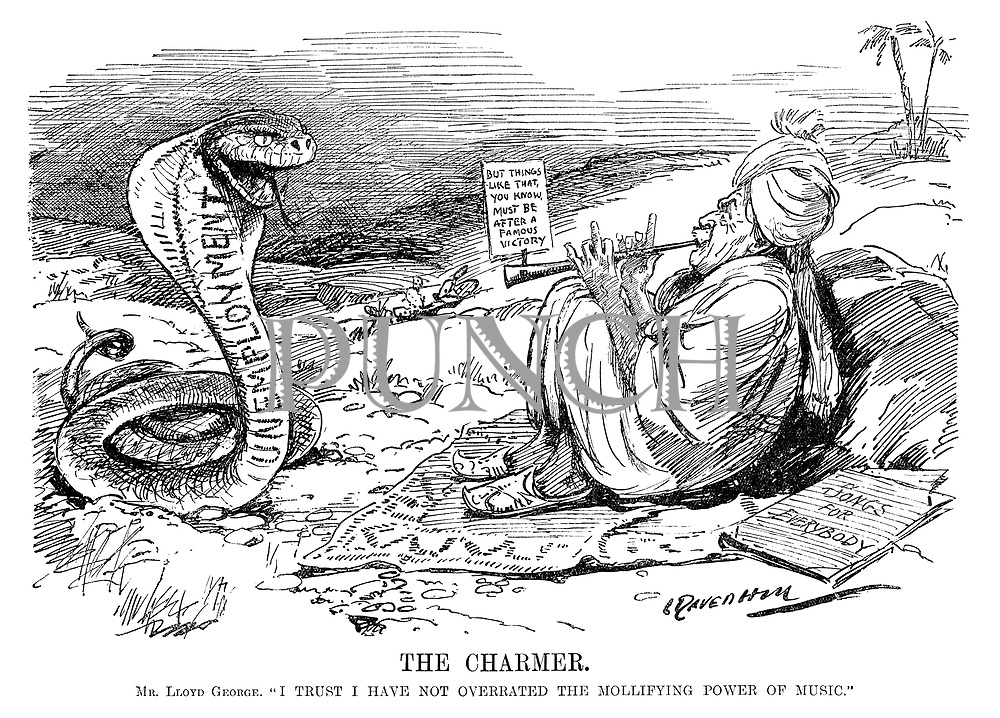 """The Charmer. Mr Lloyd George. """"I trust I have not overrated the mollifying power of music."""" (Lloyd George as a sake charmer plays Songs For Everybody - But Things Like That, You Know Must Be After A Famous Victory to the Unemployment snake during the InterWar era)"""