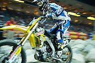X games veteran Geoff Aaron absorbs the bumps of the rock garden on his way to 3rd at Endurocross Las Vegas, NV.