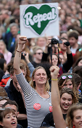 Campaigners celebrate as the results are announced in the referendum on the 8th Amendment of the Irish Constitution which prohibits abortions unless a mother's life is in danger.
