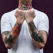 Tattoo artist Andy Burns from Dundee with Yes tattoo's. Picture Robert Perry 2nd Sept 2014