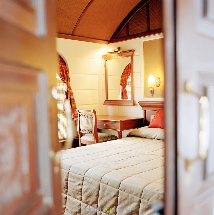 Interior of a hotel houseboat, Kerala, India