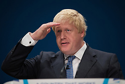 October 2, 2016 - Birmingham, West Midlands, UK - Birmingham , UK . Foreign Secretary BORIS JOHNSON speaks to the conference during the first day of the Conservative Party Conference at the International Convention Centre in Birmingham  (Credit Image: © Joel Goodman/London News Pictures via ZUMA Wire)