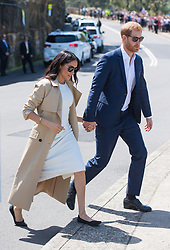 PICTURE RE-TRANSMITTED WITH CORRECT CAPTION INFO The Duke and Duchess of Sussex depart following a visit to Taronga Zoo in Sydney on the first day of the Royal couple's visit to Australia.