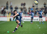 Sale Sharks stand-off AJ McGinty attempts a conversion  during the Aviva Premiership match Sale Sharks -V- Saracens at The AJ Bell Stadium, Salford, Greater Manchester, England on November  20  2016. (Steve Flynn/IOS via AP)