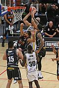 EnviroNZ Bulls Kyrin Galloway takes a shot under pressure in the Sal's NBL Basketball match, Taylor Hawks v EnviroNZ Bulls, Pettigrew Green Arena, Napier, Saturday, June 26, 2021. Copyright photo: Kerry Marshall / www.photosport.nz