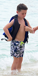 Kai Rooney and friends pictured doing watersports in Barbados. ***SPECIAL INSTRUCTIONS*** Please pixelate children's faces before publication.***. 24 Oct 2017 Pictured: Kai Rooney. Photo credit: Shanice King/246paps / MEGA TheMegaAgency.com +1 888 505 6342
