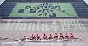 Atlanta, USA,  GBR W8+, (double Exposure), at the 1996, Olympic Rowing Regatta, Lake Lanier, Gainesville Georgia,  [Photo Peter Spurrier/Intersport Images]<br /> GBR W8+. Annamarie STAPLETON, Lisa EYRE, Dot BLACKIE, Katherine POLLITT, Miriam BATTEN, Cath BISHOP, Joanne TURVEY, Alison GILL and cox  Suzie ELLIS,