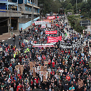 Demonstrations took place in Sao Paulo aimed at lowering metro fares on Thursday, June 19, 2014. Credit: Byron Smith