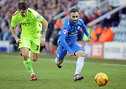 Erhun Oztumer of Peterborough United gets away from Southend United's Stephen Hendrie - Mandatory byline: Joe Dent/JMP - 16/01/2016 - FOOTBALL - ABAX Stadium - Peterborough, England - Peterborough United v Southend United - Sky Bet League One