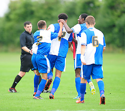 Bristol Rovers' U18s Aaron Ward-Baptise celebrates with his team mates after scoring. - Photo mandatory by-line: Dougie Allward/JMP - Tel: Mobile: 07966 386802 17/08/2013 - SPORT - FOOTBALL - Bristol Rovers Training Ground - Friends Life Sports Ground - Bristol - Academy - Under 18s - Youth - Bristol Rovers U18s V Bournemouth U18s