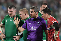Rugby Union - 2019 Rugby World Cup - Pool A: Ireland vs. Russia<br /> <br /> Referee Jérôme Garcès (France), in conversation with Russia's Vasily Artemyev (c), at Kobe Misaki Stadium, Kobe City.<br /> <br /> COLORSPORT/ASHLEY WESTERN