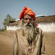 A begger on the road to Omkareshwar.<br /> Madhya Pradesh Province.
