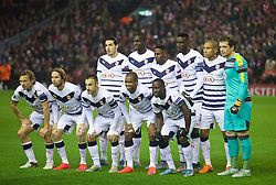 LIVERPOOL, ENGLAND - Thursday, November 26, 2015: FC Girondins de Bordeaux players line up for a team group photograph before the UEFA Europa League Group Stage Group B match against Liverpool at Anfield. Back row L-R: Enzo Crivelli, Cedric Yambere, Andre Poko, captain Ludovic Sane, Jussie, goalkeeper Cedric Carrasso. Front row L-R: Clement Chantome, Jaroslav Plasil, Diego Contento, Diego Rolan, Henri Saivet. (Pic by David Rawcliffe/Propaganda)