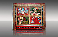 Altar of Archangels<br /> <br /> Second quarter of the thirteenth century<br /> Temple, stucco reliefs in metal on wood from the church of Catalonia, Spain.<br /> <br /> Acquisition of Museums Board's campaign in 1932. MNAC 3913<br /> <br /> Archangels were prominent in Romanesque iconography, acting as intermediaries between God and Man or as agents of divine will.  Three of the four compartments of the small altar front are dedicated to San Michael.  Top right shows Michael fighting a dragon, bottom left shows the psychostasia, where souls are weighed to determine whether they should go to heaven or hell on judgement day, bottom right shows a detail of the story of the miracle of Mont Gargano. Top left shows Grabriel and Rafael with the baby Jesus. The style of the painting is the similar to the mural decoration of St. Paul Casserres. .<br /> <br /> If you prefer you can also buy from our ALAMY PHOTO LIBRARY  Collection visit : https://www.alamy.com/portfolio/paul-williams-funkystock/romanesque-art-antiquities.html<br /> Type -     MNAC     - into the LOWER SEARCH WITHIN GALLERY box. Refine search by adding background colour, place, subject etc<br /> <br /> Visit our ROMANESQUE ART PHOTO COLLECTION for more   photos  to download or buy as prints https://funkystock.photoshelter.com/gallery-collection/Medieval-Romanesque-Art-Antiquities-Historic-Sites-Pictures-Images-of/C0000uYGQT94tY_Y