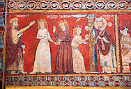 Gothic panel depicting scenes from the Life of St Nicholas. End of the 13th century, fresco transferred to canvas from a mural on the north wall of  The Church of San Fructuoso, Nicholas and John the Evangelist, Huesca, Spain. Inv MNAC 45796. National Museum of Catalan Art (MNAC), Barcelona, Spain.<br /> <br /> If you prefer you can also buy from our ALAMY PHOTO LIBRARY  Collection visit : https://www.alamy.com/portfolio/paul-williams-funkystock/romanesque-art-antiquities.html<br /> Type -     MNAC     - into the LOWER SEARCH WITHIN GALLERY box. Refine search by adding background colour, place, subject etc<br /> <br /> Visit our ROMANESQUE ART PHOTO COLLECTION for more   photos  to download or buy as prints https://funkystock.photoshelter.com/gallery-collection/Medieval-Romanesque-Art-Antiquities-Historic-Sites-Pictures-Images-of/C0000uYGQT94tY_Y