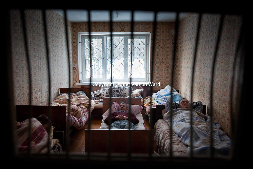 Patients in a Mental Asylum in the Mogliev region of Belarus.Chernobyl's human costs are widespread affecting about seven million people.A generation later children are being born with birth defects ,heart problems and thyroid cancer.The crippled economy of Belarus has led to poverty, social problems and domestic abuse..Photograph by Eamon Ward