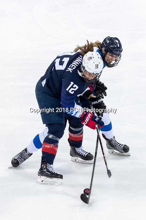Kelly Pannek (USA) #12 and Ella Viitasuo (FIN) #8 during USA-FInland Women's Hockey competition at the Olympic Winter Games PyeongChang 2018